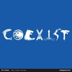 """Get """"Coexist"""" from artist spacemonkeydr today only, July 25, for $10 at RIPT Apparel. www.riptapparel.com"""