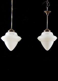Set of Three Belgian Vintage 1950s White Milk Glass Pendant Light Fixtures