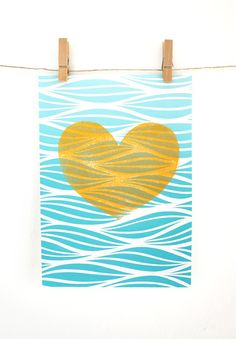 Ocean Love mini print in turquoise ombre and gold by TheAhlgrenCollage