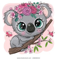 Koala with flowers on a tree on a pink background. Cute Cartoon Koala with flowers on a tree on a pink background stock illustration Cute Giraffe, Cute Owl, Cartoon Giraffe, Baby Giraffes, Cute Animal Drawings, Cute Drawings, Koala Tattoo, Cartoon Mignon