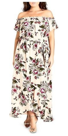 57497b7600 City Chic Lolita Floral-Print Off-The-Shoulder Maxi Dress