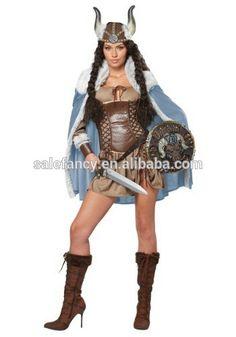 Niñas vikingo traje de la mujer vixen partido de cosplay del traje del vestido de lujo QAWC-3004