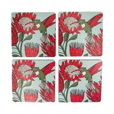 Set of 4 Square Coasters Size: X per coaster Material: MDF with cork back Lead time: 4 weeks before dispatch