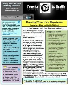 """Trends in Health Newsletter Vol. 4: Creating Your Own Happiness - Learning to Smile Within!   Are you happy?  Are the students you work with happy?  Take the included """"Happiness Survey"""" and find out!!  Resource also includes articles on """"Happiness,"""" Current """"Happiness"""" Statistics, """"Self-Esteem Survey,"""" """"Positive Self-Talk"""" Worksheet, and more..."""