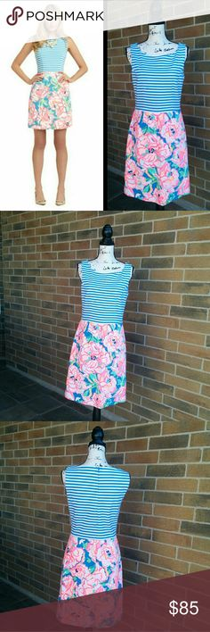 """Lilly Pulitzer Julianna Dress Pretty Julianna Dress by Lilly Pulitzer. Excellent condition.   Fantastic a-line silhouette in Posh Ponte with a striped bodice and a printed skirt.   Size tag is Medium, approx measurement: Pit to pit : 17.5"""" (35"""") Lenght : 36.5"""" Lilly Pulitzer Dresses"""