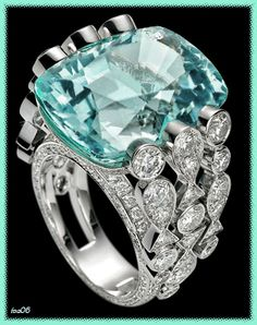 Aquamarine Rings, Aquamarine Blue, Emerald, Jewelry Rings, Jewelry Watches, Jewellery, Right Hand Rings, Pink Turquoise, Eye Candy