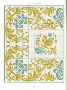 Bordures frisés fleuries ♡ 花 ボーダー クロスステッチ Cross Stitch Geometric, Cross Stitch Borders, Cross Stitch Flowers, Cross Stitch Charts, Cross Stitch Designs, Cross Stitching, Cross Stitch Embroidery, Embroidery Patterns, Cross Stitch Patterns