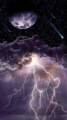 Storm Wallpaper, Wallpaper Earth, Night Sky Wallpaper, Planets Wallpaper, Wallpaper Space, Scenery Wallpaper, Galaxy Wallpaper, Lightning Photography, Nature Photography
