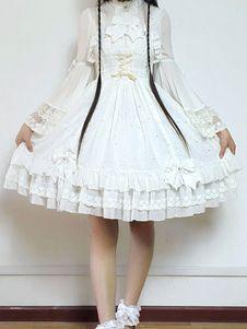 甘いロリータ ドレス JSK 飛ぶ私ポラリスに白いシフォン ボー フリル レース ジャンパー スカートを