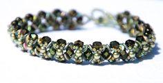 Evergreen beaded flower bracelet, Czech Fire Polished, Swarovski Crystal, O beads, Crystal Pearls, Hugs and Kisses, Dainty, Prehnite by seedbeadsofchange on Etsy