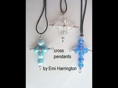 MAKE BEADED CROSS PENDANTS. brings you this jewelry making tutorial. Learn to make this easy beaded cross pendant, with just a few supplies. Cross Jewelry, Cross Earrings, Cross Necklaces, Wire Earrings, Charm Jewelry, Wire Jewelry, Pendant Jewelry, Earring Tutorial, Bracelet Tutorial