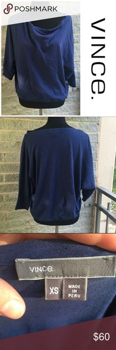 Vince slouchy neck tee Loose slouchy neck almost like a boat neck but looser- could hang off one shoulder super soft cotton, no stains or tears. 3/4 sleeves excellent used condition/ runs large, oversized Vince Tops