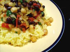 """Curried Chickpeas and Black Beans-Low Fat from Food.com:   This is a quick and simple vegetarian curry with lots of flavor, tons of protein, and not alot of fat. I recommend using a real flavorful, mild curry powder, or one that you've mixed yourself. My """"Simple, Sweet and Mild Curry Blend"""" works well with this dish. However,if you do like heat, feel free to add some cayenne or crushed red pepper to suit your taste."""