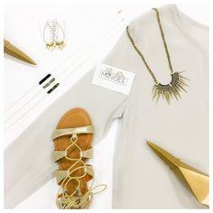 ACCESSORIES DONE RIGHT! 👌🏼 (We ship! Call to purchase or comment with size and email for PayPayl.) •••  Golden Gladiator -29 Meet Me At The Bar Necklace - 15 Ohana Hoop Earrings - 12 White Marble Studs - 17 Caesar Spike Necklace - 18 Sara Silk Blouse - 48  •••  #dressmingle #spikes #goldtouch #aotd #silk #hoops
