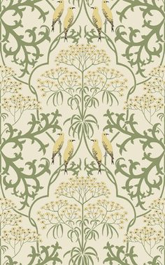 "Fools Parsley Reproduction Wallpaper. CFA Voysey c 1907.    In delicate shades of cream, green, yellow, and black, ""Fool's Parsley"" is an elegant example of interlacing stylized floral form. The pattern also offers four of the most charming birds Voysey ever drew. Appropriate anywhere a gentle yet sophisticated design is desired.    ""Fool's Parsley"" is 21"" wide with a 16.975 vertical repeat.    $7.00/ square foot, 30 square feet to the single roll."