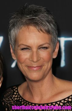 Jamie lee Curtis. this is one of my favorite women. Not many have such radiant beautiful skin, and an upbeat aura that grey hair doesn't even age them.