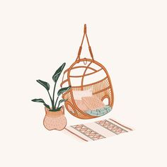 illustration art Nothing has me dreaming of my future Tiny Tropical Home more than this latest project. Laid back cali boho with a splash of rattan and banana leaves. Illustration Inspiration, Illustration Art, People Illustration, Illustrations Poster, Aesthetic Art, Cute Wallpapers, Cute Art, Art Inspo, Art Drawings