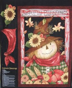 Autumn Blessing Scarecrow Fall Thanksgiving Springs Creative Cotton Fabric