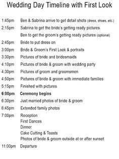 Wedding Day Timelines @Stacie Bullock
