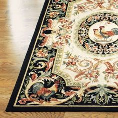 Rooster Hand-Hooked Wool Area Rug - Off-White, Round - Frontgate Wool Area Rugs, Wool Rug, Tuscan Decorating, Decorating Ideas, Decor Ideas, Chickens And Roosters, Rugs On Carpet, Carpets, Rug Hooking