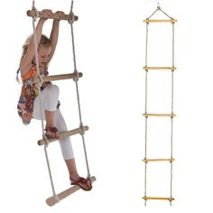 Our 5-rung long wooden rope ladder is composed of thick, hardwearing rope that will stand the test of countless children climbing up and down its rungs. Package Included: 1 piece 5 rungs simple ladder.