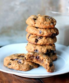 Thick & Chewy Peanut Butter Oatmeal Chocolate Chip Cookies made with no flour or butter.  -- When I make them I add flour and salt, and I love them!