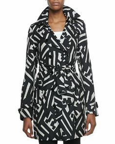 Burberry London Printed Silk Trench Coat, Black/White