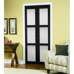TRUporte 3100 Series 24 in. x 80-1/2 in. Composite 3-Lite Tempered Frosted Glass Espresso Bi-fold Door-247257 - The Home Depot