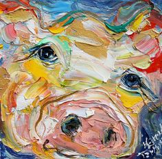 Original oil painting Little Pig 6x6 palette by Karensfineart