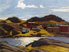 """Newfoundland Sketch,"" Lawren Stewart Harris, oil, x Art Museum, University of Toronto. Group Of Seven Artists, Group Of Seven Paintings, Paintings I Love, Awesome Paintings, Acrylic Paintings, Emily Carr, Ontario, Canadian Painters, Canadian Artists"