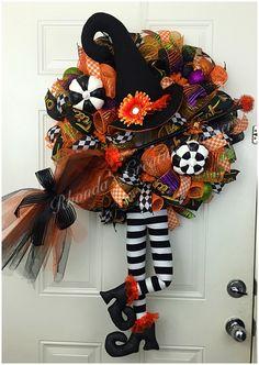 Halloween Deco Mesh, Halloween Witch Deco Mesh Wreath. Halloween Wreath, Witch…