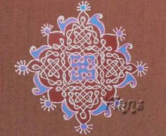 15 dots sikku kolam coloured with blue and pink colour