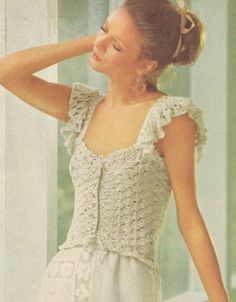 Vintage 1970s Crochet Camisole with Ribbons and Ruffles Pattern PDF 7608 $4.00