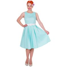 Be transformed into a rebellious rockabilly chick with our timeless swing dress. This beautiful fifties frock features a flattering fitted bodice, simple curved neckline, classic polka dot print and a luxurious full circle swinging skirt. 1950s Swing Dress, Wedding List, Wedding Ideas, Teal Hair, Aqua, Turquoise, Polka Dot Print, Fitted Bodice, Frocks