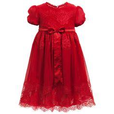 For My Little Princess.   Dolce & Gabbana Girls Red Silk Chiffon & Lace Dress at Childrensalon.com