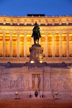 Dawn at the Vittorio Emanuele Memorial Building, Rome Italy