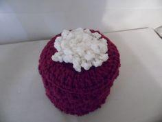 Burgundy Crocheted Toilet Tissue Cover #Handmade