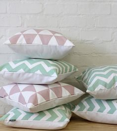Mint Chevron Pattern 16x16 inch Pillow Cover  by ZanaProducts, $29.00