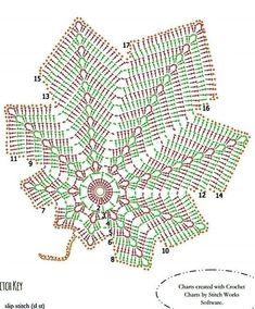 Crochet Bedspread Pattern, Crochet Snowflake Pattern, Crochet Flower Tutorial, Granny Square Crochet Pattern, Crochet Diagram, Crochet Motif, Crochet Doilies, Crochet Stitches, Crochet Patterns