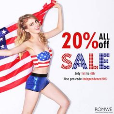 Romwe Independence Day Sale All 20% off Use pro code: Independence20% at the same time Date: 7/1/2014-7/4/2014  3 days only Free shipping worldwide Go: http://www.romwe.com?Amelia