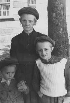 Three Jewish children in the Feldafing displaced persons camp. Feldafing, Germany, 1946-1947.