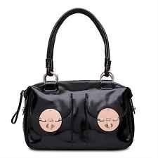 Bnwt Authentic Mimco Large Black Rose Gold Patent Turnlock Zip Top Bag Rrp499 Handbags