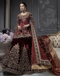Latest Pakistani designer bridal dresses Maria B Brides Collection includes beautiful patterns, designs & styles of Asian & western wedding dresses. Pakistani Wedding Outfits, Pakistani Wedding Dresses, Bridal Outfits, Indian Dresses, Wedding Hijab, Indian Outfits, Wedding Bride, Asian Bridal Dresses, Lehenga Wedding