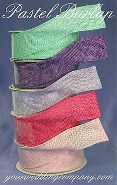 Pastel wired burlap ribbon for rustic, barn or vintage weddings. Use in centerpieces, bouquets, favors and gift baskets. Available in 15 colors: Natural, Orange, Citrus Green, Brown, Ivory, Red, Moss Green, Light Pink, Fuchsia, Lavender, Grey, Purple, Black, Amethyst and Aqua Blue - DIY Wedding and Event Supplies - http://www.yourweddingcompany.com