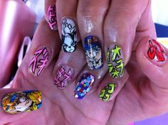 JoJo's Bizarre Adventure nail art by ai suzuki Red Nail Designs, Acrylic Nail Designs, Acrylic Nails, Bling Nails, 3d Nails, Cute Nails, Nagel Tattoo, Witchy Nails, Anime Nails