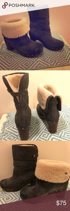 Women's gray UGG boots Stylish gray UGG boots. Warm! Great condition UGG Shoes Heeled Boots