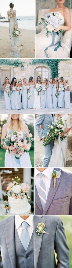 Blue Wedding Flowers Dial up the charm factor with a wedding in a palette of baby blue and linen whites. The soft shade of baby blue is everyone's favorite hue. It's chic, cool, understated and did we mention - GORGEOUS! Wedding Goals, Wedding Themes, Wedding Planning, Dream Wedding, Baby Blue Wedding Theme, Wedding Ideas, Trendy Wedding, Wedding Photos, Blue Wedding Suits