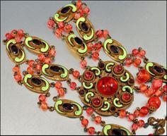 Czech Art Deco Necklace Enamel Glass Bead Vintage 1920s Art Deco Jewelry Czech Necklace