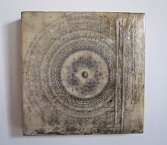 encaustic and mixed media on wood panel Kim Ionesco