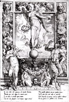 'Fame', an etching by Battista del Moro, c.1560; the personifications of Fame, Virtue and Vice are portrayed with symbolic attributes. (Hunterian Art Gallery)